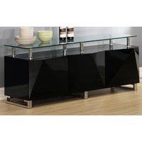 Aruba Glass Top Sideboard In Black High Gloss With 3 Doors