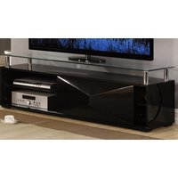Product photograph showing Aruba Glass Top Tv Stand In Black High Gloss