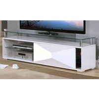 Product photograph showing Aruba Glass Top Tv Stand In White High Gloss