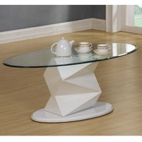 Aruba Glass Coffee Table In Clear With White High Gloss Base