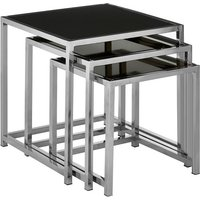 Product photograph showing Aruan Black Glass Nest Of Tables With Stainless Steel Frame