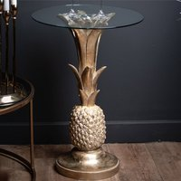 Product photograph showing Ashbon Clear Glass Side Table With Gold Pineapple Base