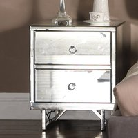 Ashbourne Mirrored Bedside Cabinet With 2 Drawers