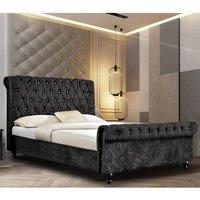 Ashland Crushed Velvet Single Bed In Black
