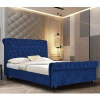 Ashland Crushed Velvet Single Bed In Blue
