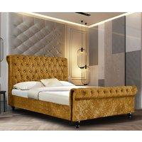 Ashland Crushed Velvet Single Bed In Mustard