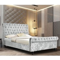 Ashland Crushed Velvet Single Bed In Silver