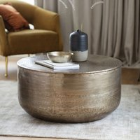 Product photograph showing Ashta Metal Round Coffee Table In Bronze