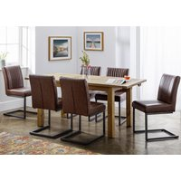 Product photograph showing Aspen Extending Dining Set With 6 Brooklyn Brown Leather Chairs