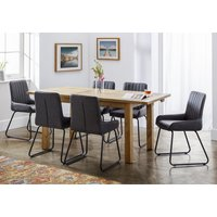 Aspen Extending Dining Set With 6 Soho Black Leather Chairs