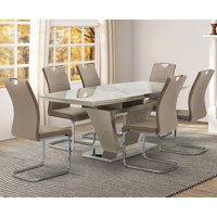 Product photograph showing Aspen Latte Glass Extending Dining Table With 6 Chairs