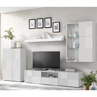 Product photograph showing Aspen Led Wooden Living Room Furniture Set In White High Gloss