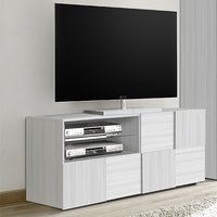 Product photograph showing Aspen Small Tv Stand In Matt White With 1 Door 1 Drawer