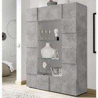 Product photograph showing Aspen Wooden Display Cabinet In Concrete With 2 Doors