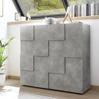 Product photograph showing Aspen Wooden Highboard In Concrete With 2 Doors
