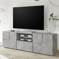 Product photograph showing Aspen Wooden Large Tv Stand In Concrete With 2 Doors 1 Drawer