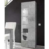 Product photograph showing Aspen Wooden Led Display Cabinet In Concrete With 1 Door