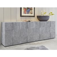 Product photograph showing Aspen Wooden Sideboard In Concrete With 4 Doors