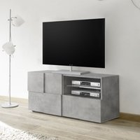 Product photograph showing Aspen Wooden Small Tv Stand In Concrete With 1 Door 1 Drawer