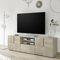 Product photograph showing Aspen Wooden Tv Stand In Sonoma Oak With 2 Doors 1 Drawer