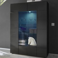 image-Aspen Modern Display Cabinet In Grey High Gloss With LED