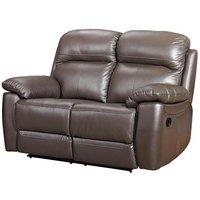 Astona Leather 2 Seater Fixed Sofa In Brown