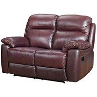 Astona Leather 2 Seater Fixed Sofa In Chestnut
