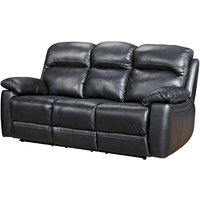 Astona Leather 3 Seater Fixed Sofa In Black