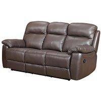 Astona Leather 3 Seater Fixed Sofa In Brown