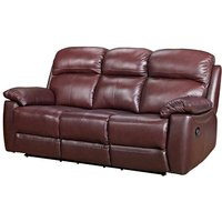 Astona Leather 3 Seater Fixed Sofa In Chestnut