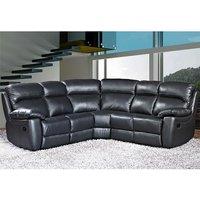 Astona Leather Corner Recliner Sofa In Black