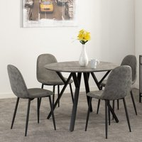 Product photograph showing Athens Round Dining Table In Concrete Effect With 4 Chairs