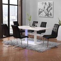Atlantis LED Large White Gloss Dining Table 6 Paris Black Chair