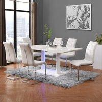 Atlantis LED Large White Gloss Dining Table 6 Paris White Chair