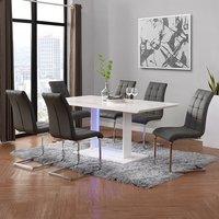 Atlantis LED Large White Gloss Dining Table 6 Paris Grey Chair