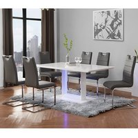 Atlantis LED Large White Gloss Dining Table 6 Petra Grey Chairs