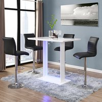 Product photograph showing Atlantis White Gloss Bar Table With Led And 4 Ripple Black Stool