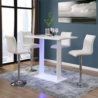 Atlantis White Gloss Bar Table With LED And 4 Ripple White Stool