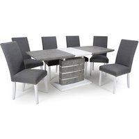 Product photograph showing Atlas Extending Granite Effect Dining Table 6 Steel Grey Chairs