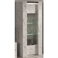 Product photograph showing Attoria Led 1 Door Display Cabinet Black And White Marble Effect