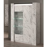 Product photograph showing Attoria Led 2 Door Display Cabinet Black And White Marble Effect