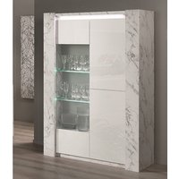 Product photograph showing Attoria Led 2 Door Wooden Display Cabinet White Marble Effect