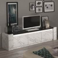 Product photograph showing Attoria Led Large Tv Stand In White And Black Marble Effect