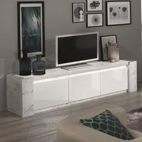 Product photograph showing Attoria Led Large Wooden Tv Stand In White Marble Effect