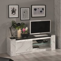 Product photograph showing Attoria Led Wooden Tv Stand In White And Black Marble Effect