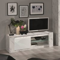 Product photograph showing Attoria Led Wooden Tv Stand In White Marble Effect