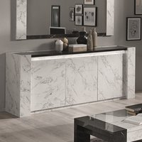 Product photograph showing Attoria Wooden Sideboard In Black And White Marble Effect