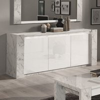 Product photograph showing Attoria Wooden Sideboard In White Marble Effect