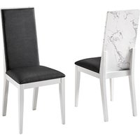 Product photograph showing Attoria White Marble Effect Wooden Dining Chair In Black Seat