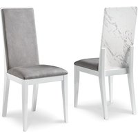Product photograph showing Attoria White Marble Effect Wooden Dining Chair In Grey Seat